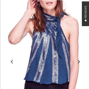 NEW Free People glitter city sequined tied blouse